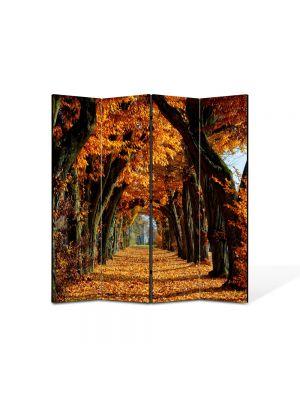 Paravan de Camera ArtDeco din 4 Panouri Peisaj Tunel de toamna 105 x 150 cm