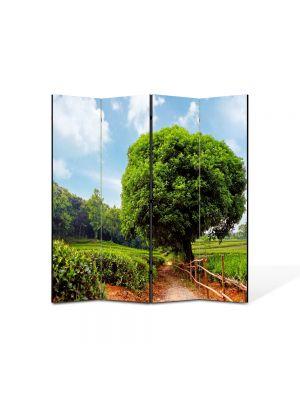 Paravan de Camera ArtDeco din 4 Panouri Peisaj Coroana perfecta 105 x 150 cm
