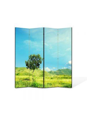 Paravan de Camera ArtDeco din 4 Panouri Peisaj Totul este verde 105 x 150 cm