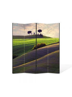Paravan de Camera ArtDeco din 4 Panouri Peisaj Campiute 105 x 150 cm