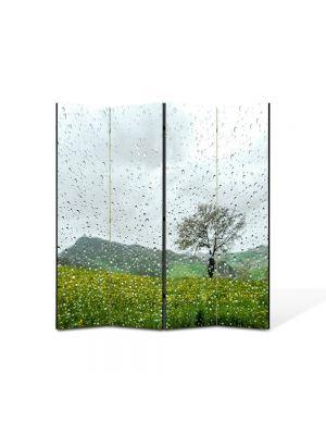 Paravan de Camera ArtDeco din 4 Panouri Peisaj Plouat 105 x 150 cm