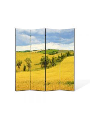 Paravan de Camera ArtDeco din 4 Panouri Peisaj Sirag de copaci 105 x 150 cm