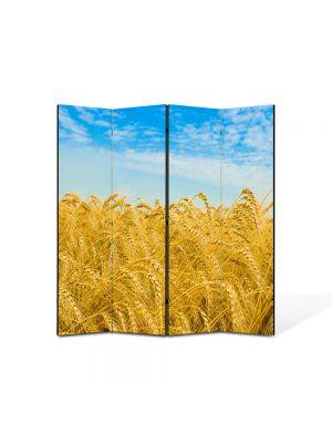 Paravan de Camera ArtDeco din 4 Panouri Peisaj Campie grau 105 x 150 cm