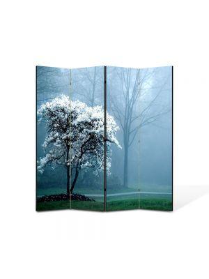 Paravan de Camera ArtDeco din 4 Panouri Peisaj copac alb 105 x 150 cm