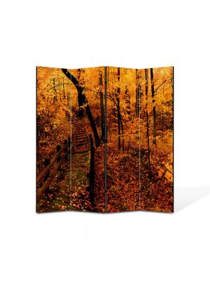 Paravan de Camera ArtDeco din 4 Panouri Peisaj Ruginiu 105 x 150 cm