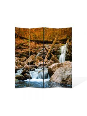 Paravan de Camera ArtDeco din 4 Panouri Peisaj Cascada lina 105 x 150 cm