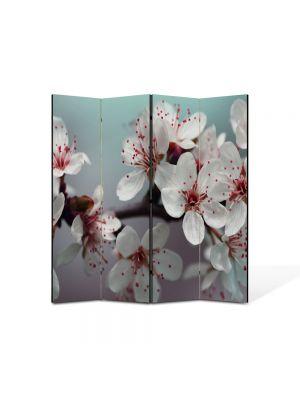 Paravan de Camera ArtDeco din 4 Panouri Peisaj Flori albe 105 x 150 cm