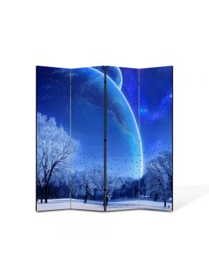 Paravan de Camera ArtDeco din 4 Panouri Peisaj Planete fantastice 105 x 150 cm