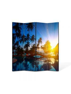 Paravan de Camera ArtDeco din 4 Panouri Peisaj Exotic 105 x 150 cm