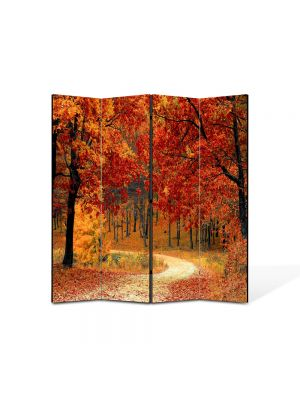Paravan de Camera ArtDeco din 4 Panouri Peisaj Drum in padure toamna 105 x 150 cm