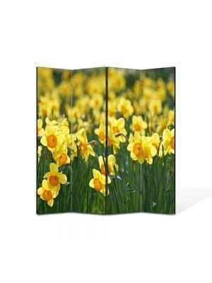 Paravan de Camera ArtDeco din 4 Panouri Peisaj Floricele galbene 105 x 150 cm