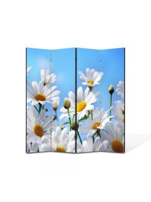Paravan de Camera ArtDeco din 4 Panouri Peisaj Flori albe pe cer 105 x 150 cm