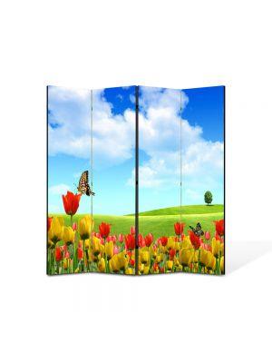Paravan de Camera ArtDeco din 4 Panouri Peisaj Fluturi 105 x 150 cm