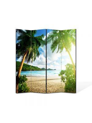 Paravan de Camera ArtDeco din 4 Panouri Peisaj Palmieri 105 x 150 cm