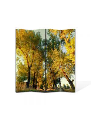 Paravan de Camera ArtDeco din 4 Panouri Peisaj Perspectiva copaci 105 x 150 cm