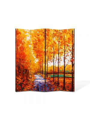 Paravan de Camera ArtDeco din 4 Panouri Peisaj Drum printre copaci 105 x 150 cm