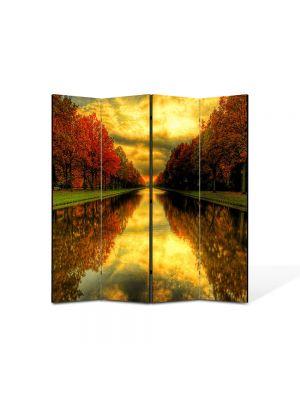 Paravan de Camera ArtDeco din 4 Panouri Peisaj Capat de perspectiva 105 x 150 cm