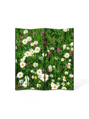 Paravan de Camera ArtDeco din 4 Panouri Peisaj Flori diverse 105 x 150 cm