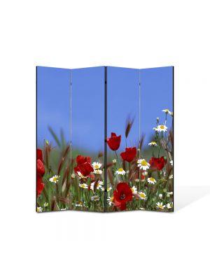 Paravan de Camera ArtDeco din 4 Panouri Peisaj Flori pe camp 105 x 150 cm
