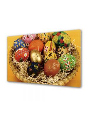 Tablou Canvas Sarbatori Paste Cosulet cu oua colorate si pictate