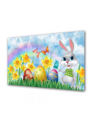 Tablou Canvas Sarbatori Paste Iepuras, fluturi, flori si oua de Paste