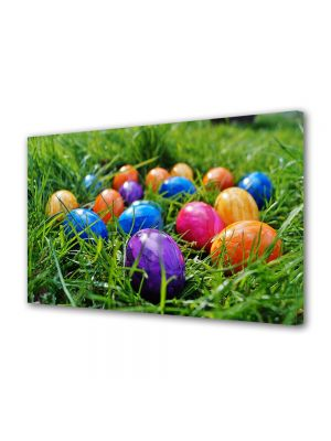 Tablou Canvas Sarbatori Paste Multe oua colorate in iarna