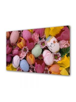 Tablou Canvas Sarbatori Paste Oua colorate printre flori