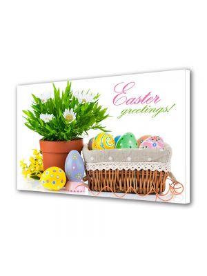 Tablou Canvas Sarbatori Paste Ghiveci cu flori si oua