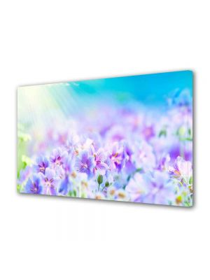 Tablou Canvas Luminos in intuneric VarioView LED Peisaj Flori violet