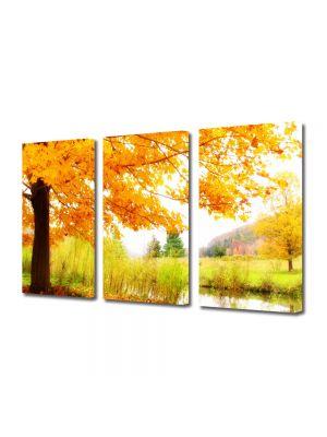 Set Tablouri Multicanvas 3 Piese Peisaj Copac pe malul lacului