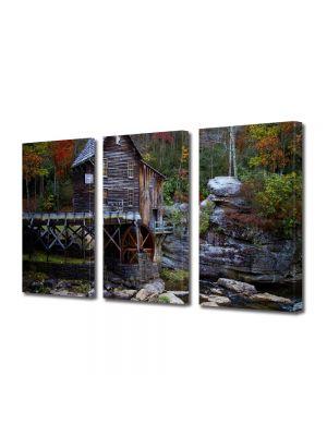 Set Tablouri Multicanvas 3 Piese Peisaj Moara de apa