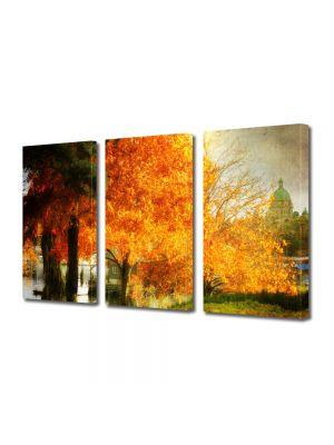 Set Tablouri Multicanvas 3 Piese Peisaj Copac galben
