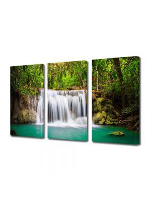Set Tablouri Multicanvas 3 Piese Peisaj Cascada in jungla