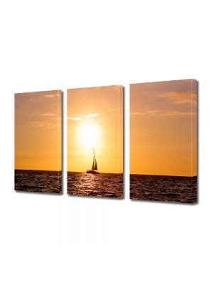 Set Tablouri Multicanvas 3 Piese Peisaj Corabie cu vele