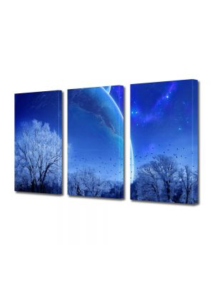 Set Tablouri Multicanvas 3 Piese Peisaj Planete fantastice