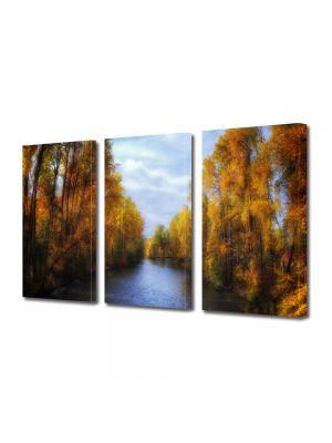 Set Tablouri Multicanvas 3 Piese Peisaj Canal de toamna