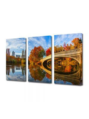 Set Tablouri Multicanvas 3 Piese Peisaj Pod peste toamna