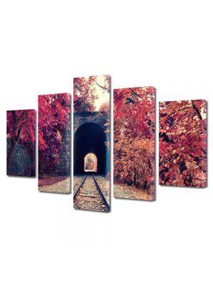 Set Tablouri Multicanvas 5 Piese Peisaj Cale ferata