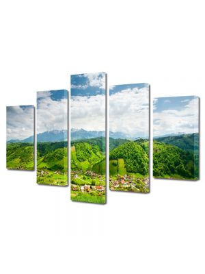 Set Tablouri Multicanvas 5 Piese Peisaj Peste dealuri