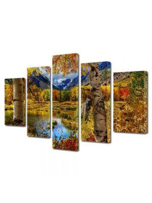 Set Tablouri Multicanvas 5 Piese Peisaj Toamna la munte