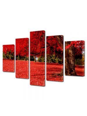 Set Tablouri Multicanvas 5 Piese Peisaj Covor rosu sub copac