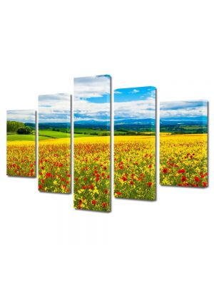 Set Tablouri Multicanvas 5 Piese Peisaj De la pamant la cer