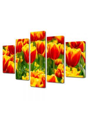 Set Tablouri Multicanvas 5 Piese Peisaj Lalele in 2 culori
