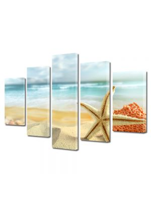 Set Tablouri Multicanvas 5 Piese Peisaj Scoici pe plaja