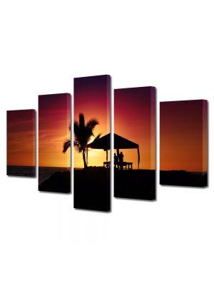 Set Tablouri Multicanvas 5 Piese Peisaj Palmier la apus