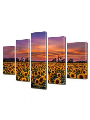 Set Tablouri Multicanvas 5 Piese Peisaj Floarea soarelui la apus