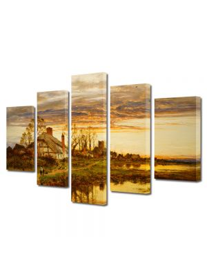 Set Tablouri Multicanvas 5 Piese Peisaj Coliba
