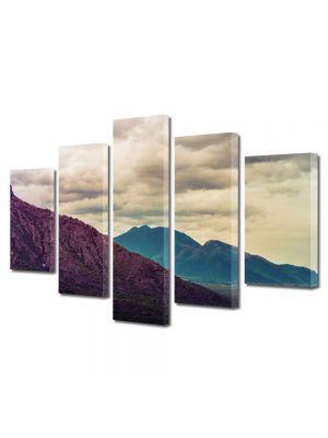Set Tablouri Canvas 5 Piese Peisaj Violet