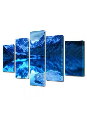 Set Tablouri Canvas 5 Piese Peisaj Albastru in oglinda