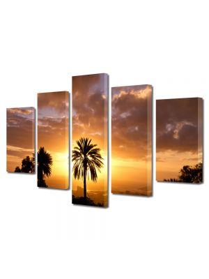 Set Tablouri Canvas 5 Piese Peisaj Palmier si soare